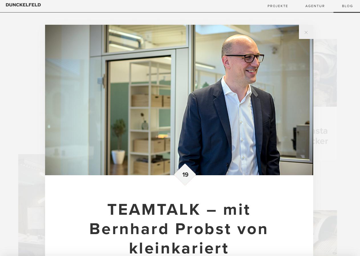 Screen Shot Blog Dunckelfeld Digital Interview mit Bernhard Probst kleinkariert Agentur für Struktur