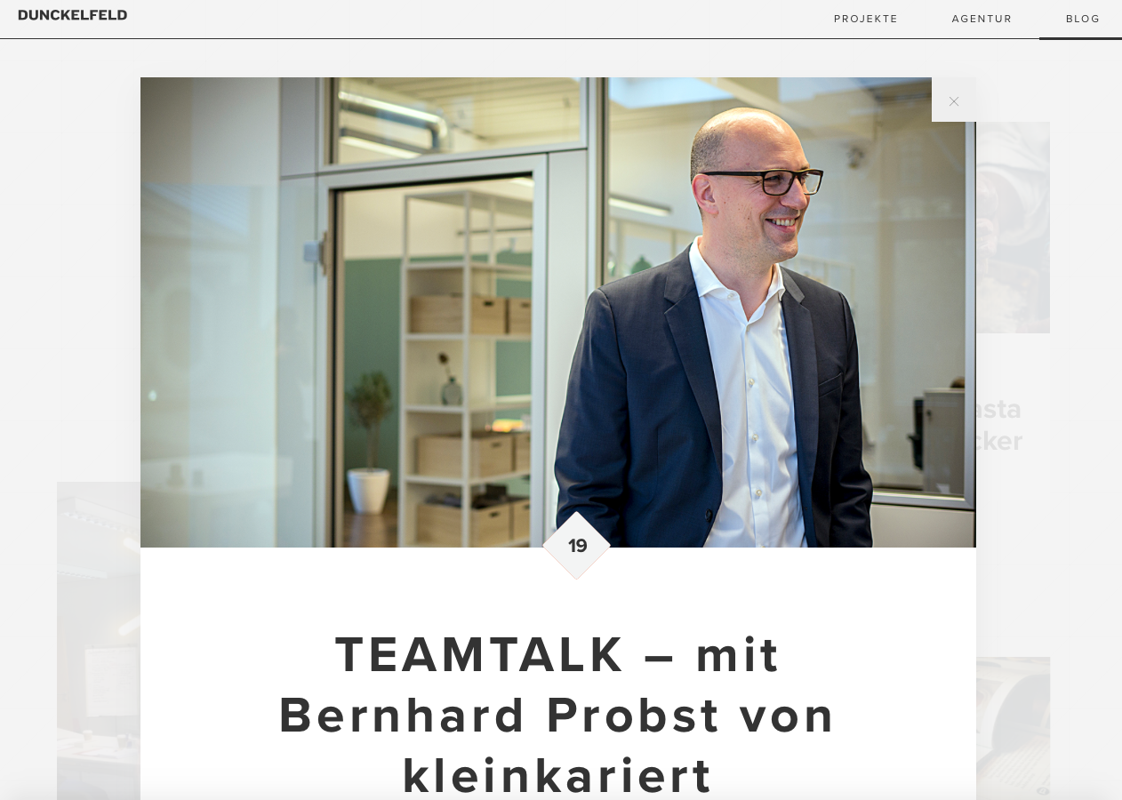 Screen Shot Blog Dunckelfeld Digital Interview mit Bernhard Probst kleinkariert Agentur für Struktur